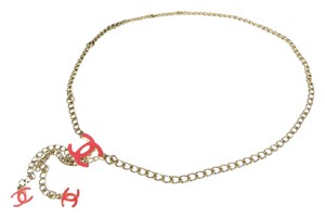 Chanel Authentic with Box Signature CC Chain Belt Gold Hardware Pink Enamel