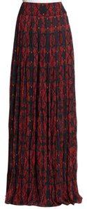 Alice + Olivia Maxi Skirt Red, black and blue print