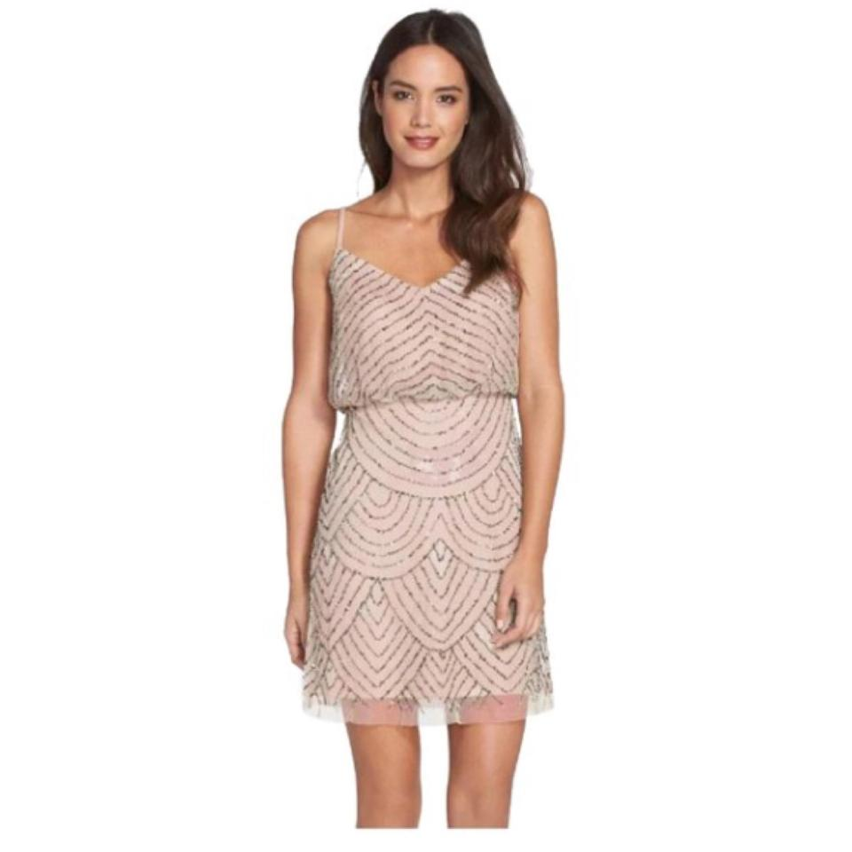 Adrianna Papell Taupe Pink Art Deco Short Cocktail Dress Size 4 (S ...