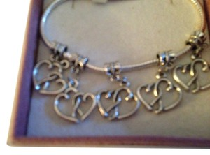 Bella & Chloe SET OF 5- Sterling Silver European Style Dangling Heart Charms, . 4mm Hole.