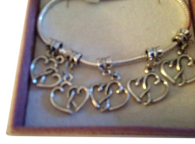 Item - Sterling Silver Set Of 5- European Style Dangling Heart 4mm Hole. Charm