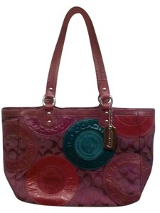 Coach Tote in Berry and teal