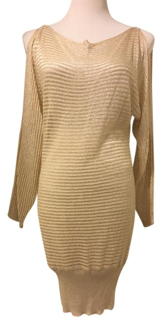 Item - Gold Metalic Shoulder Tunic Mid-length Cocktail Dress Size 4 (S)
