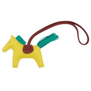 Hermès Hermes Lime Yellow Rodeo Leather Bag Charm PM for Birkin and Kelly