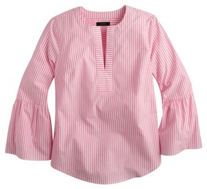 J.Crew Top Pink and White
