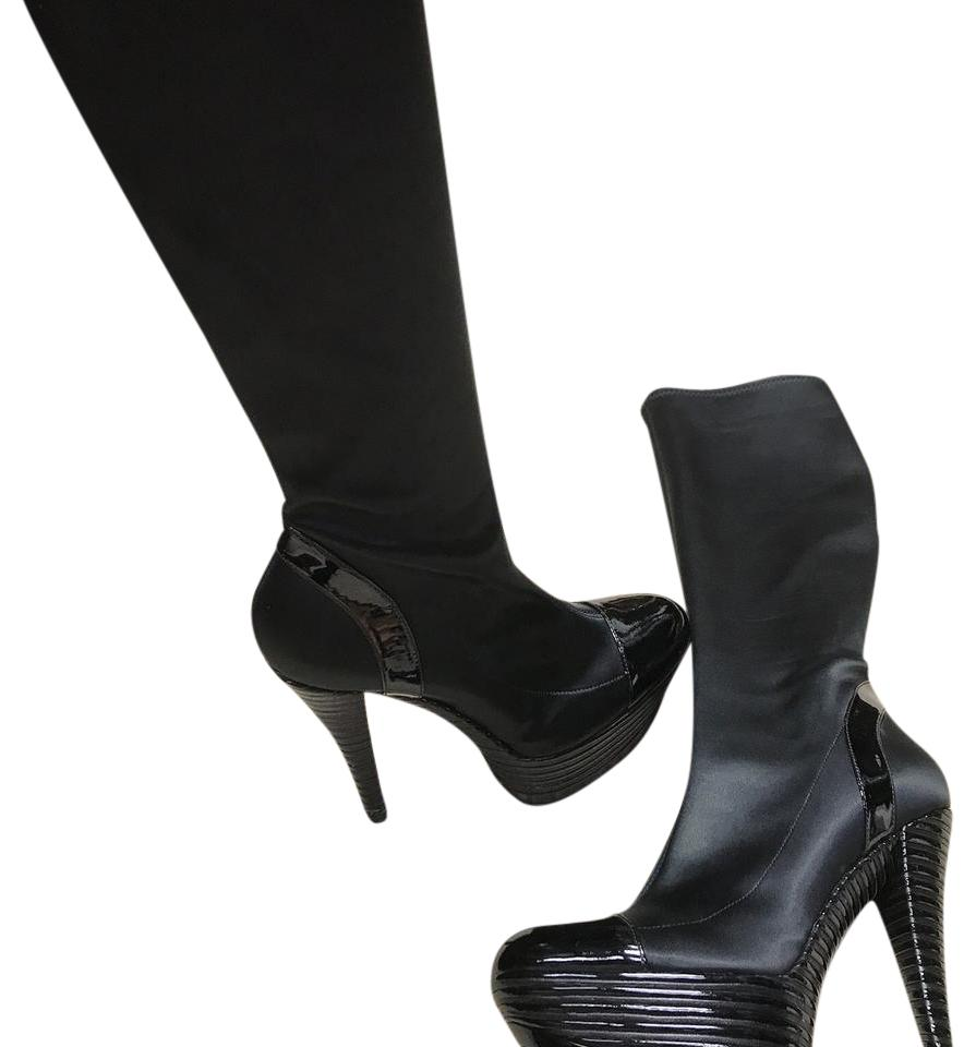 01c728caf87 Casadei Black Satin High Platform Boots Booties Size US 8 Regular (M ...