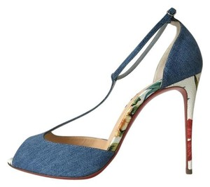Christian Louboutin Denim Jean White Hawaiian Senora Blue Pumps