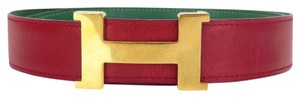 Herms Hermes H logo leather red belt buckle