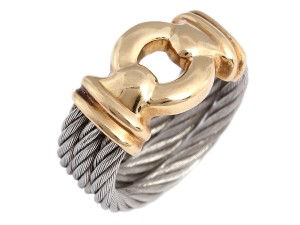 Charriol 18K Gold & Steel Nautical Cable Ring
