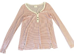 Anthropologie Striped Henley T Shirt Red