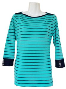 Liz Claiborne Striped Quarter Sleeve Button Casual Cute Top blue, green, navy