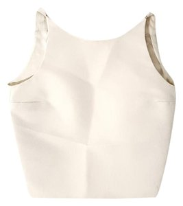 Gucci Crop Cut-out Backless Silk Top Ivory