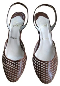 Christian Louboutin Round Toe Mesh brown leather Mules