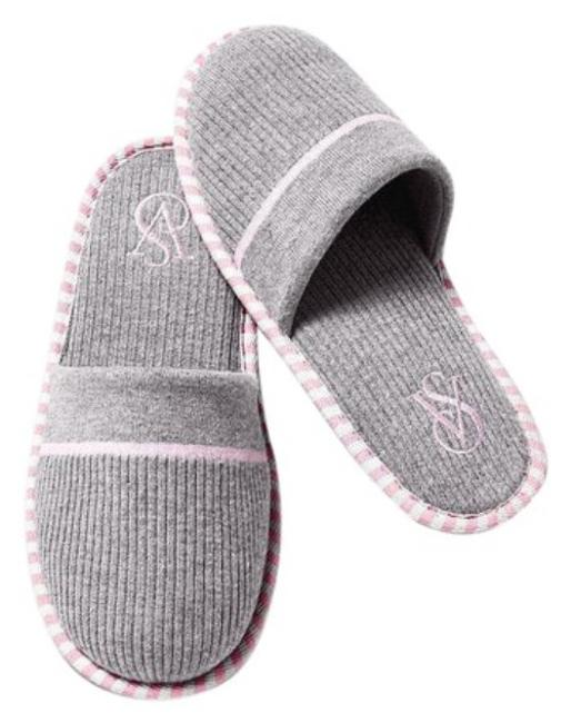 Item - Gray/Pink L Slippers L(9-10) Flats Size US 9 Regular (M, B)