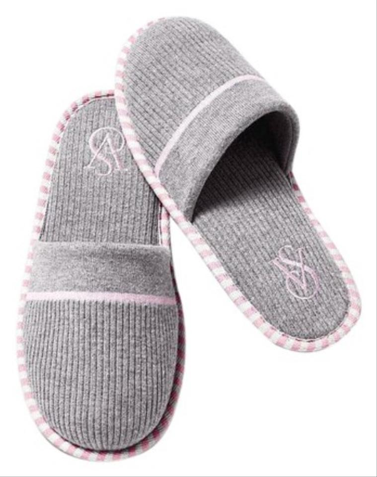 Victoria\'s Secret Gray/Pink Slippers M(7-8) Flats Size US 8 Regular ...