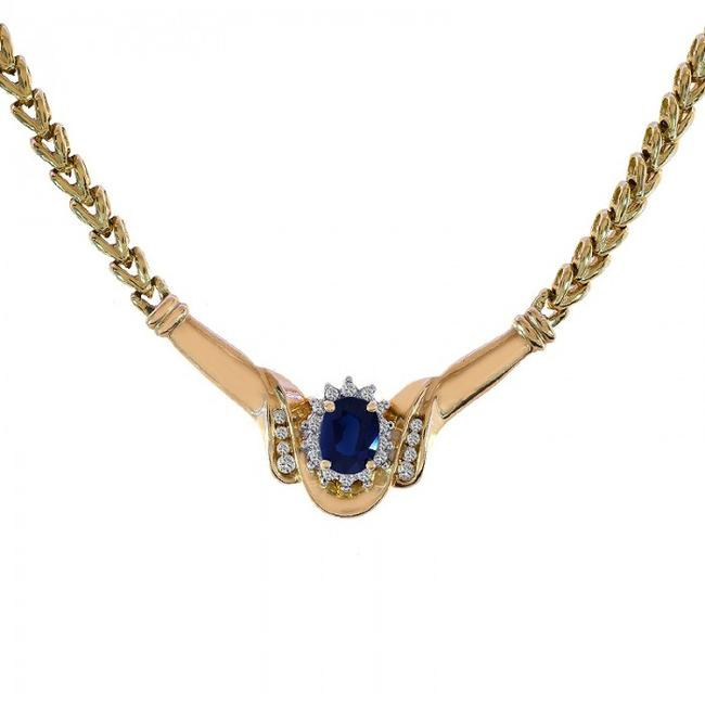 Avital & Co Jewelry 14k Yellow Gold 1.78 Carat Oval Cut Sapphire Round Diamonds Necklace Avital & Co Jewelry 14k Yellow Gold 1.78 Carat Oval Cut Sapphire Round Diamonds Necklace Image 1