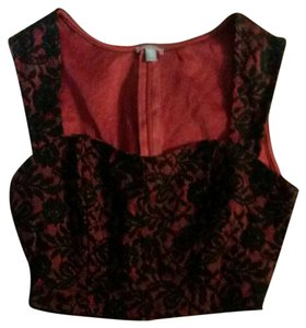 Charlotte Russe Top Satiny red with black lace