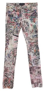 Isabel Marant Abstract Embroidered Skinny Jeans-Light Wash