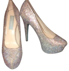 Betsey Johnson silver sparkles white Platforms