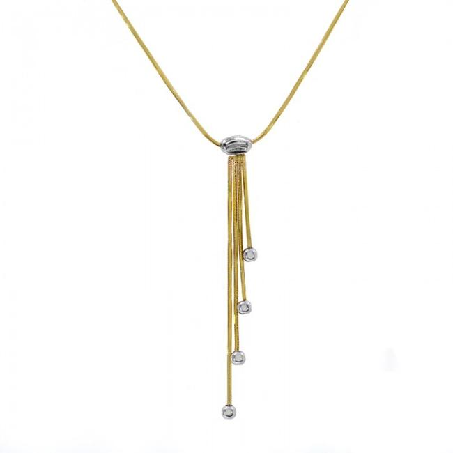 Item - 14k Yellow Gold Snake Chain with Movable Drop Pendant Necklace