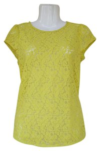 Ann Taylor LOFT Lace Capped Sleeves Zipper Floral Casual Top lime green