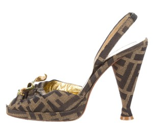 Fendi Zucca Hardware Peep Toe Monogram Floral Brown, Black, Gold Pumps