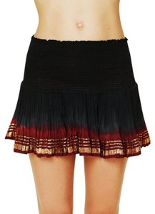 Free People Fp New Long Draped Pleated Shimmering Red Gold Fp One Pretty Mini Bohemian Festival Mini Skirt Blue
