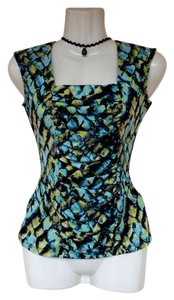 Style & Co Square Sleeveless Colorful Scrunch Rouched Top blue, green, black