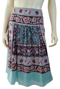 Etcetera Art Deco Floral Thin Wool Lined Skirt Turquoise, Pinks, Browns, Red, White