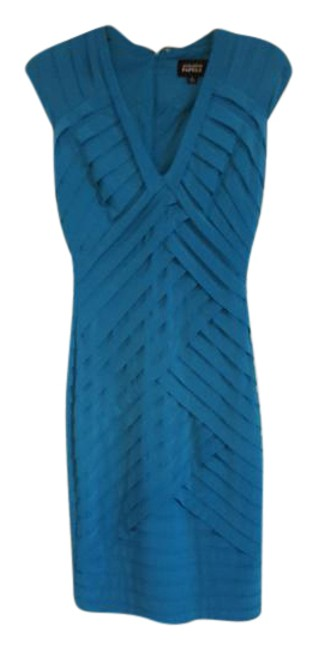 Item - Turquoise Layered Band Mid-length Night Out Dress Size 2 (XS)