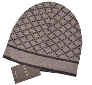 Gucci New Gucci 281600 Men's 100% Wool Diamante Taupe Brown Beanie Ski Hat