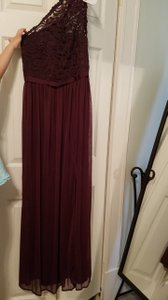 David's Bridal Plum Long One Shoulder Lace Bridesmaid Dress - F17063 Dress