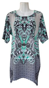 Style & Co Mesh Rhinestones Paisley Tunic Plus-size Top Green, Grey, White, Black