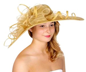 formal hat Bow feather large brim dress hat Gold