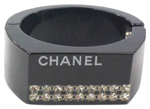 Chanel Chanel Bangle Bracelet In Black And Crystals