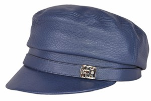 Gucci NEW Gucci Women's 354366 Blue Leather Driver Cap Hat LARGE