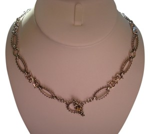 """Barbara Bixby Barbara Bixby 18"""" Sterling Silver and 18K Yellow Gold, Bold Link Necklace w/ Toggle Clasp -- J21174"""