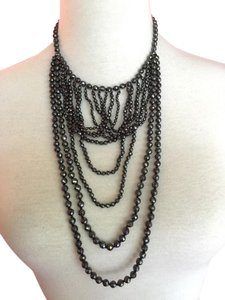 Chan Luu New Auth Chan Luu Hematite Semi Precious Faceted Rounds Bib Necklace