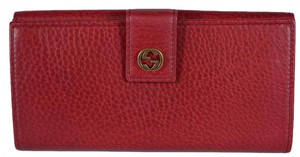 Gucci New Gucci Women's 337335 Miss GG Cranberry Red Leather Wallet