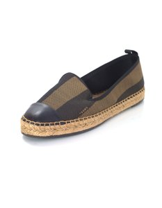 Fendi Espadrilles Junia Stripe Canvas Black and brown Flats