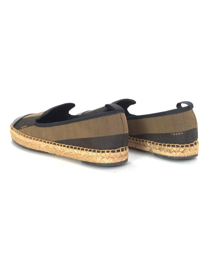 213805c716cd Fendi Espadrilles Junia Stripe Canvas Black and brown Flats Image 7.  12345678