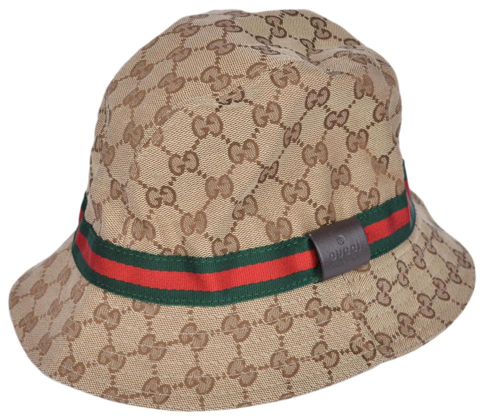 gucci new gg guccissima beige red green stripe fedora bucket hat l 59. Black Bedroom Furniture Sets. Home Design Ideas