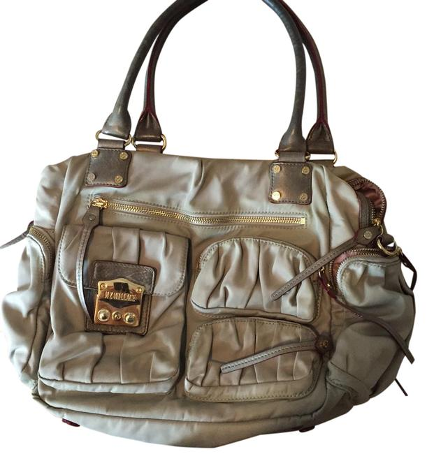 Item - Bedford Francis Satchel Grey with Rose Interior Grey Leather and Gold Hardware Accents Nylon Metal Cross Body Bag