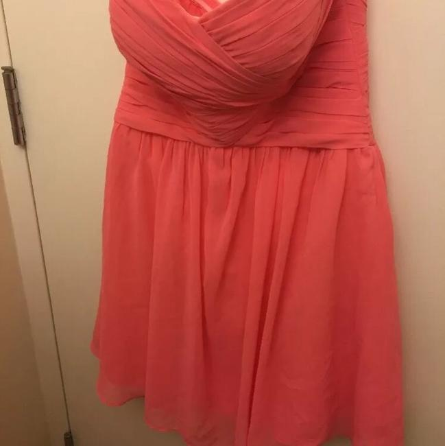 Item - Pink/Coral Chiffon Strapless Formal Bridesmaid/Mob Dress Size 4 (S)