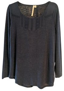 LC Lauren Conrad Embroidered Knit Woven Top Navy Blue