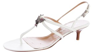 Valentino Crystal Silver Hardware Embellished Butterfly Rockstud White, Silver Sandals