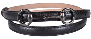 Gucci New Gucci Women's 282349 BROWN Leather Horsebit Buckle Skinny Belt 40