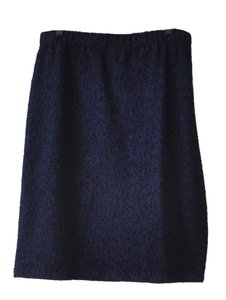 St. John Caviar Collection Textured Knit Sparkles Skirt Navy