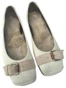 dusica dusica Cashmere Suede Buckle Fur Lined Italy Creme Flats