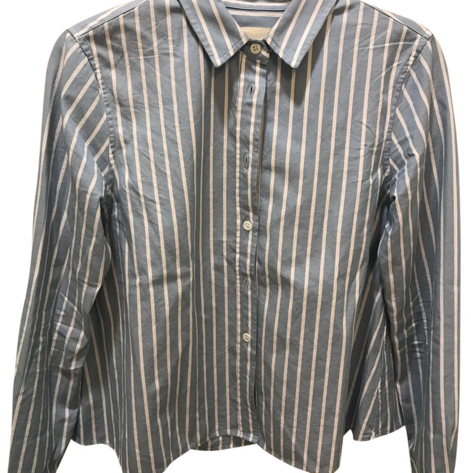e1e1d03301336 Band of Outsiders White Sky Blue Oxford Weave Shirt Button-down Top ...